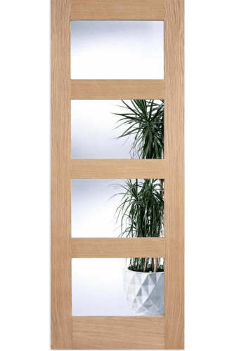 Contemporary Shaker 4 Panel Oak with Clear Glass Untreated