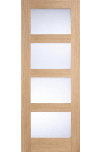 Internal Door Oak Contemporary shaker 4 Light with Frosted Glass Untreated LPD - 18mm Solid Oak Lippings