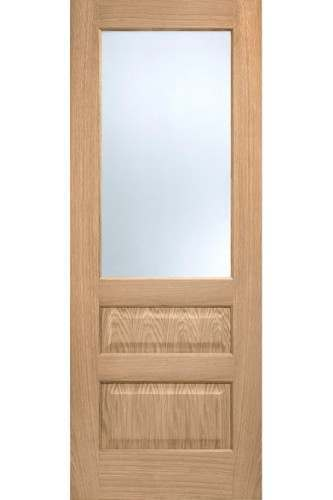 Internal Door Oak Contemporary 2 Panel 1 Light Prefinished