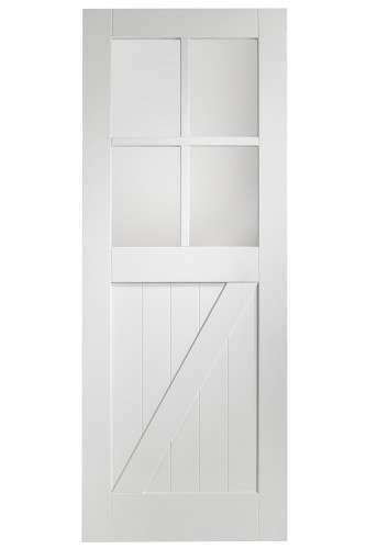 Internal Door White Primed Cottage with Clear Glass