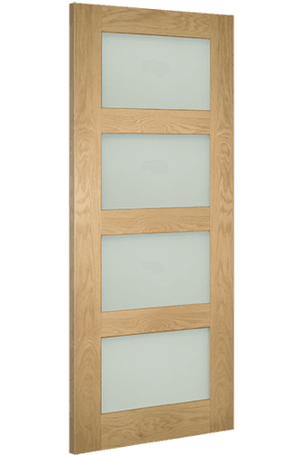 Oak Coventry Frosted glass prefinished angled