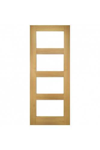Internal Door Oak Coventry 4 panel with Clear Glass Unfinished SPECIAL OFFER!