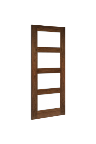 Internal Door Walnut Coventry With Clear Glass Prefinished