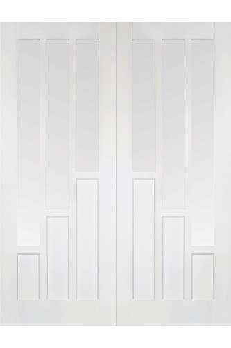 Internal Door Pair White Primed Coventry with Clear Glass