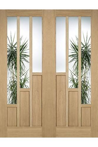 Internal Door Pair Oak Coventry with Clear Glass Prefinished