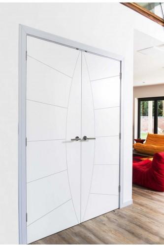 Internal Rebated Door Pair White Primed Elektra Semi Solid Core