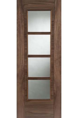 Internal Door Walnut Iseo Central 4 Light Clear Bevelled Glass Semi Solid Core