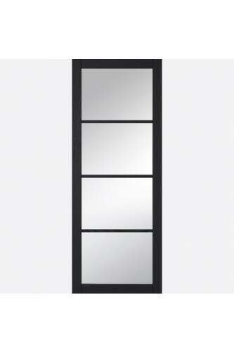 Internal Door Charcoal Grained Soho with Clear Glass Prefinished