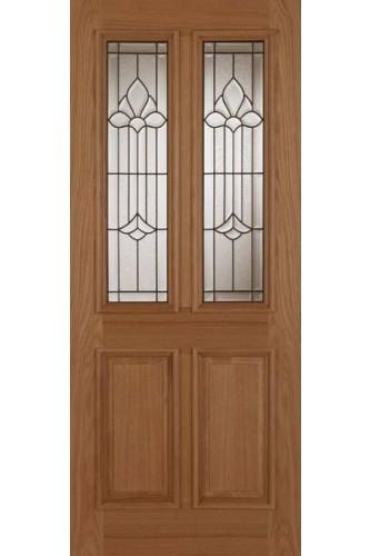 External door oak derby chameleon with leaded triple for Triple glazed doors