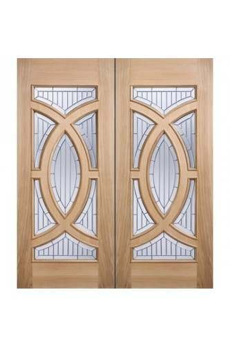 External Door Pair Oak Majestic with Zinc Clear Bevelled Glass Untreated LPD