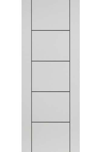 Internal Fire Door Satin White Eco Linea with Black Grooves Prefinished