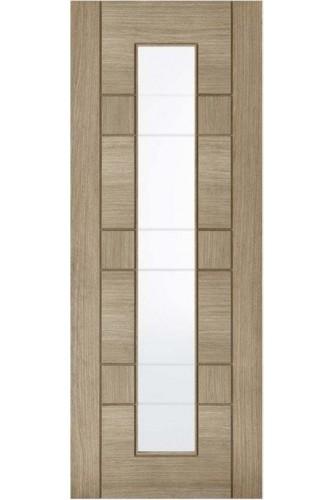 Internal Door Light Grey Stained Veneer Edmonton with Clear Glass Prefinished