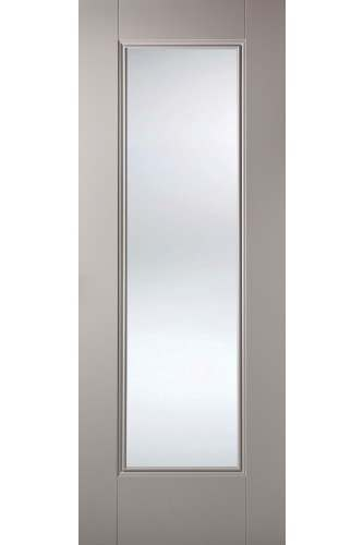 Internal Door Grey Eindhoven 1 Panel with Clear Glass Primed Plus