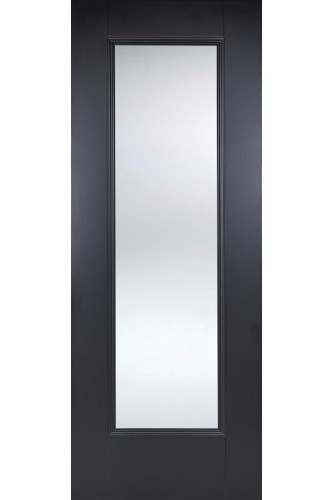 Internal Door Black Eindhoven 1 Panel with Clear Glass Primed Plus