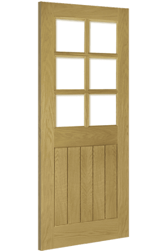 Internal Door Oak Ely with Clear Bevelled Glass Unfinished
