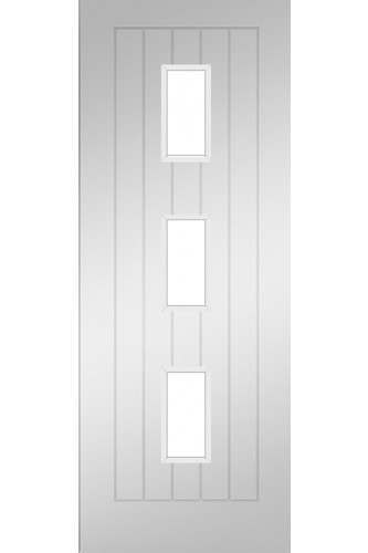 Internal Door Solid White Primed Ely Clear Glass