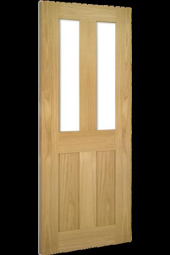 Internal Door Oak Eton with Clear Glass Unfinished