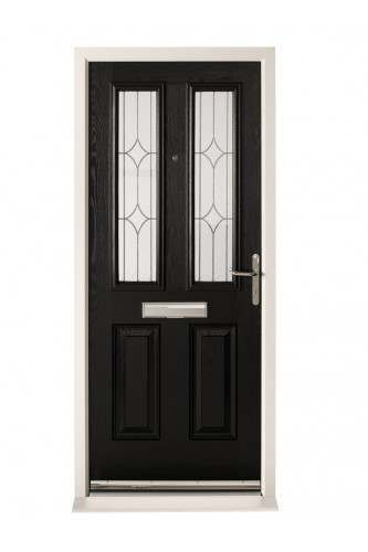 External Pre Hung Malton Composite Door Set with Stippolyte Obscure Glass