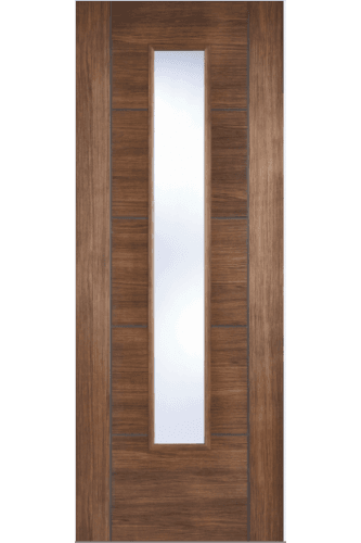 Internal Door Walnut Laminate Vancouver with Clear Glass Prefinished