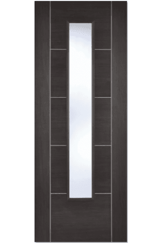 Internal Door Dark Grey Laminate Vancouver with Clear Glass Prefinished