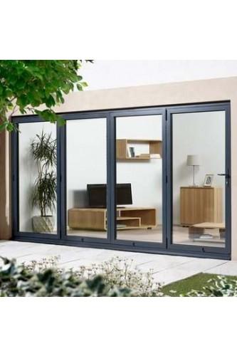 External Aluvu Grey Folding/Sliding Aluminium Core Doorset Prefinished 12FT