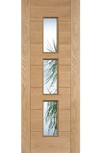 Internal Door Oak Hampshire Semi Solid Core with Clear Glass Prefinished