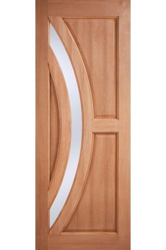 External Door Hardwood Harrow Glazed with Frosted Double Glazed Unit Untreated