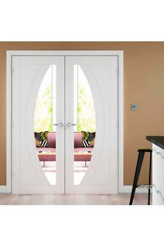 Internal door pair white primed salerno with clear glass for White interior double doors with glass