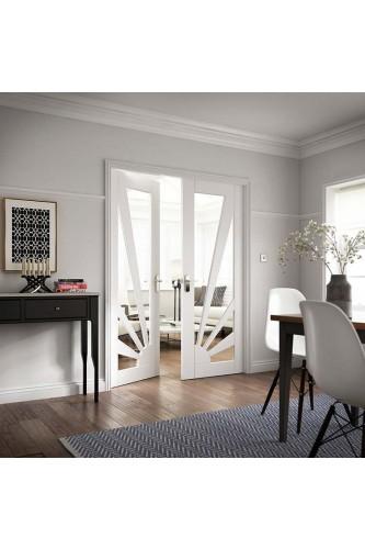 Internal Rebated Door Pair White Primed Aurora Glazed Clear glass