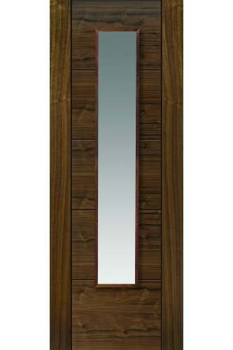 Internal Door Walnut Emral with Clear Glass Prefinished