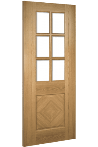 Internal Door Oak Kensington with Clear Bevelled Glass Prefinished