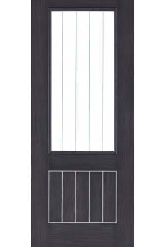 Internal Door Laminate Dark Grey Mexicano with Clear Glass Etched Lines Prefinished  Discontinued CHECK STOCK