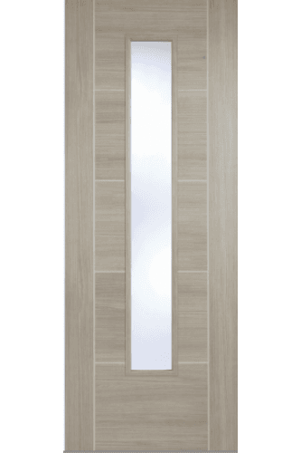 Internal Door Light Grey Laminate Vancouver with Clear Glass Prefinished