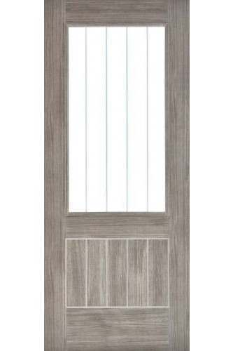 Internal Door Laminate Light Grey Mexicano with Etched Glass Prefinished SPECIAL OFFER
