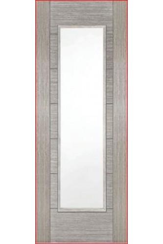 Internal Door Light Grey Corsica CLEAR GLASS semi solid core Prefinished