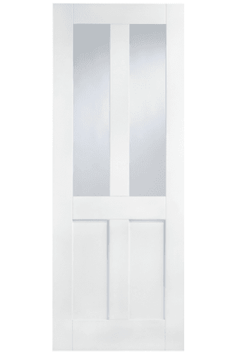 Internal Door White Primed London Shaker 4 Panel with Clear Glass LPD
