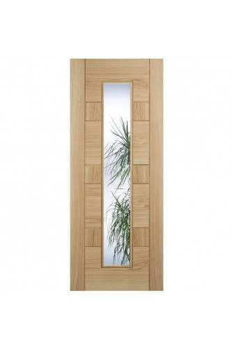 Internal Door Oak Edmonton with Clear Glass with Etched Lines Prefinished
