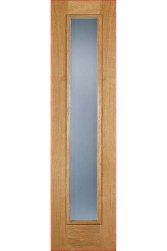 External Door Oak Sidelight with Frosted Glass Untreated LPD