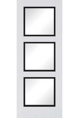 Internal Door Premium Primed Plus White and Black Luxemburg 3 Light Clear Glass