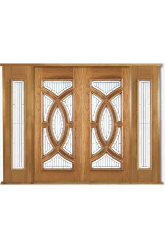 Attirant External Oak Door Majestic Grand Entrance Kit With Two X Majestic Sidelights