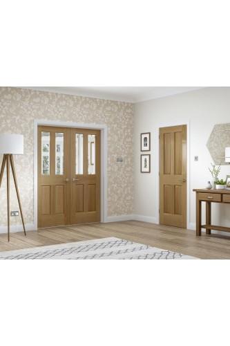 Internal Door Pair Oak Malton Rebated with Clear Bevelled Glass Untreated
