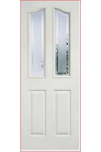 Internal Door White Primed Moulded Mayfair 2 Panel 2 Light Glazed LPD