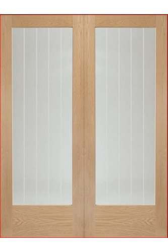 Internal Door Pair Rebated Oak Mexicano Glazed with Etched Glass Untreated