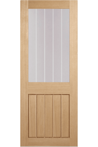 Internal Fire Door Oak Mexicano Half light Clear Glass with Frosted Lines Prefinished