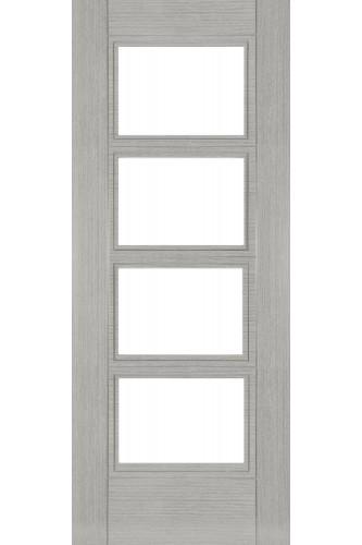 Internal Fire Door Light Grey Veneer Montreal Clear Glass Prefinished