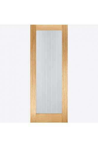 Internal Door Oak Mexicano Pattern 10 Clear with Frosted Lines Glass Prefinished