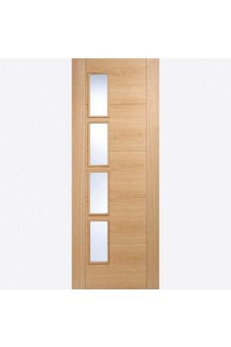 Internal Fire Door Oak Vancouver Offset 4 Light Clear Glazed Prefinished