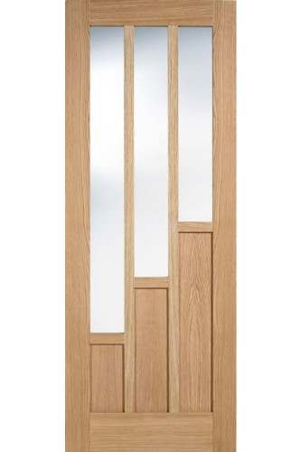 Internal Door Oak Coventry with Clear Glass Prefinished