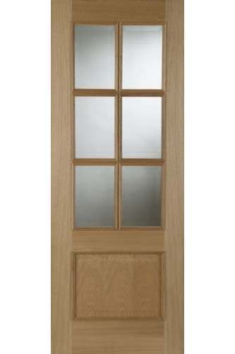 Internal Oak Door Iris 6 Light with Raised Moulding Untreated