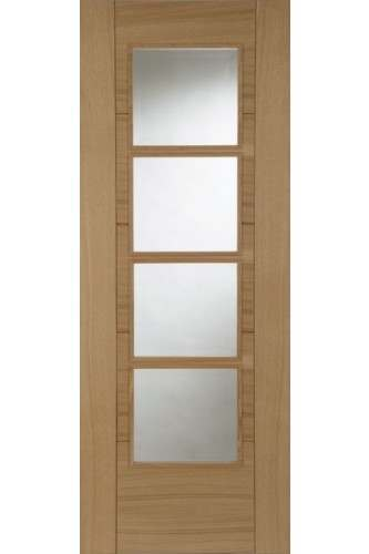 Internal Door Oak Iseo DELUXE Central 4 Light Clear Glazed Pre Finished